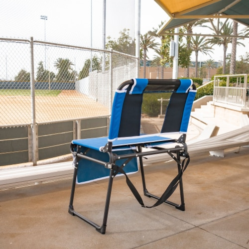 Creative Outdoor 2 in 1 Bleacher Folding Chair - Blue/Black Perspective: back
