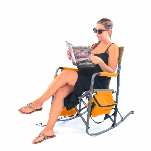 Creative Outdoor Rocking Folding Chair - Gray & Orange Perspective: back