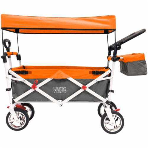 Creative Outdoor Silver Series Push Pull Folding Wagon Stroller with Canopy - Orange Perspective: back