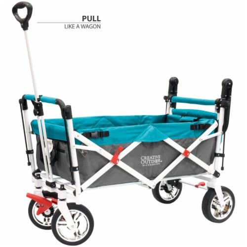 Creative Outdoor Silver Series Push Pull Folding Wagon Stroller with Canopy - Teal Perspective: back