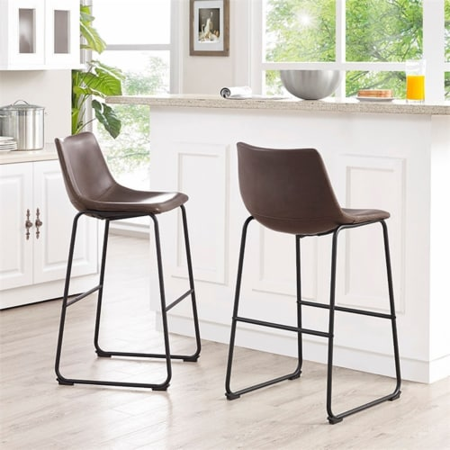 40  Faux Leather Bar Stool in Brown (Set of 2) Perspective: back