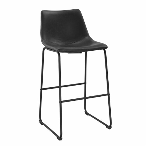 Faux Leather Bar Stool in Black (Set of 2) Perspective: back