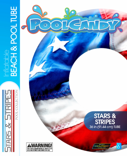 PoolCandy Stars and Stripes Inflatable Beach and Pool Tube - Red/White/Blue Perspective: back