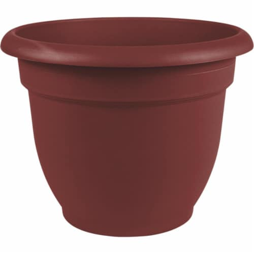 Bloem Ariana 8.8 In. H x 8 In. Dia. Plastic Self Watering Burnt Red Planter Perspective: back