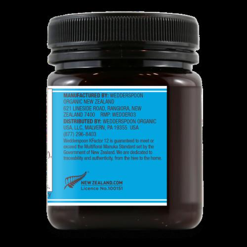Wedderspoon KFactor 12 Raw Multifloral Manuka Honey Perspective: back