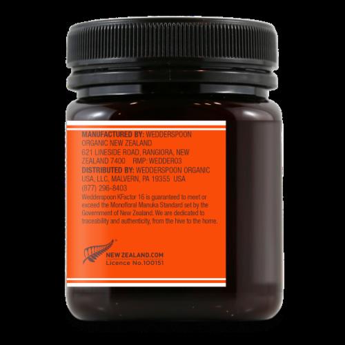 Wedderspoon KFactor 16 Raw Monofloral Manuka Honey Perspective: back