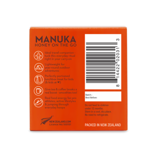 Wedderspoon Raw Monofloral Manuka Honey On The Go Packs Perspective: back