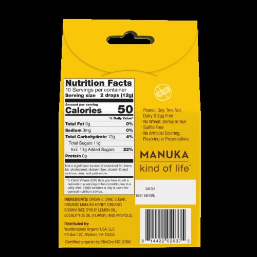 Wedderspoon Organic Lemon Manuka Honey Drops Perspective: back