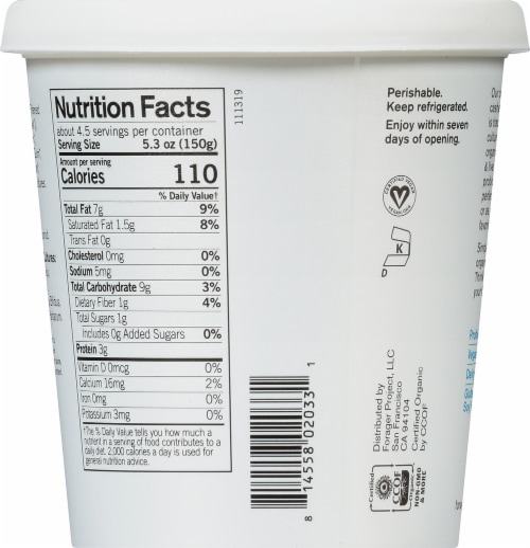 Forager Project Organic Dairy-Free Unsweetened Plain Cashewmilk Yogurt Alternative Perspective: back