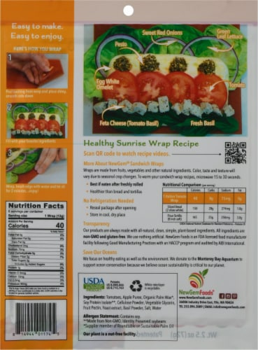 NewGem Foods® Italian Tomato Sandwich Wraps Perspective: back