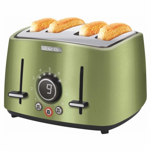 Sencor 4-Slot Toaster with Digital Button and Rack - Light Green Perspective: back