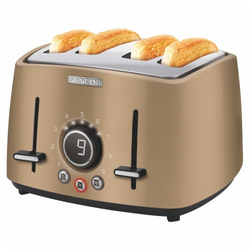 Sencor 4-Slot Toaster with Digital Button and Rack - Champagne Perspective: back