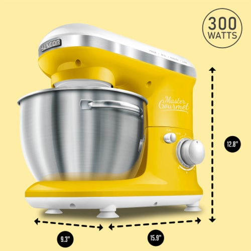 Sencor Stand Mixer with Pouring Shield - Yellow Perspective: back