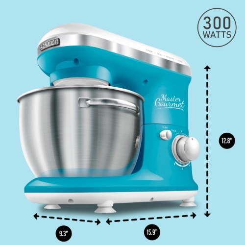Sencor Stand Mixer with Pouring Shield - Turquoise Perspective: back