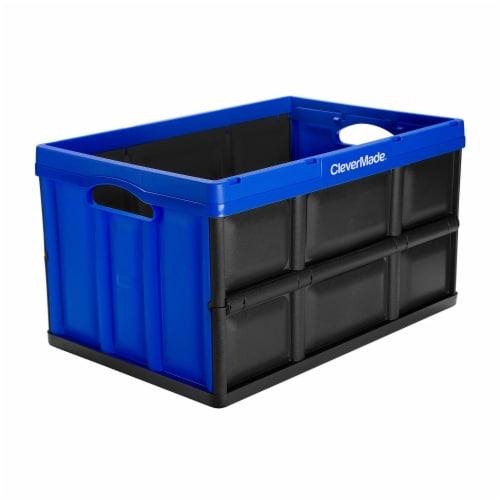 CleverMade Durable Stackable 62L Collapsible Storage Bins, Royal Blue (3-Pack) Perspective: back