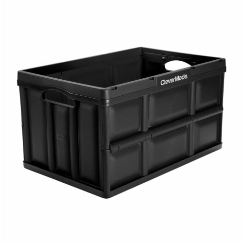 CleverMade Durable Stackable 62L Home Collapsible Storage Bins, Black (3-Pack) Perspective: back