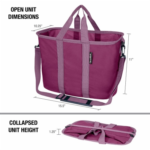CleverMade 20L EcoBasket Grocery Tote Bags with Shoulder Strap, Plum (3 Pack) Perspective: back