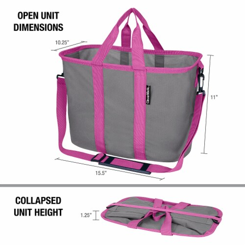 CleverMade 20L EcoBasket Grocery Tote Bags w/ Shoulder Strap, Charcoal (3 Pack) Perspective: back