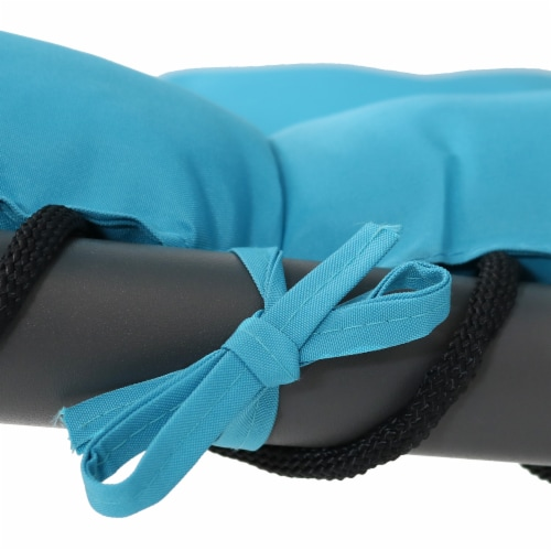 """Sunnydaze Teal Hanging Floating Chaise Lounger Swing Chair with Umbrella - 80"""" Perspective: back"""
