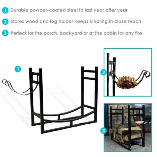 """Sunnydaze Log Rack and Kindling Holder 30"""" Steel with Black Finish Wood Storage Perspective: back"""
