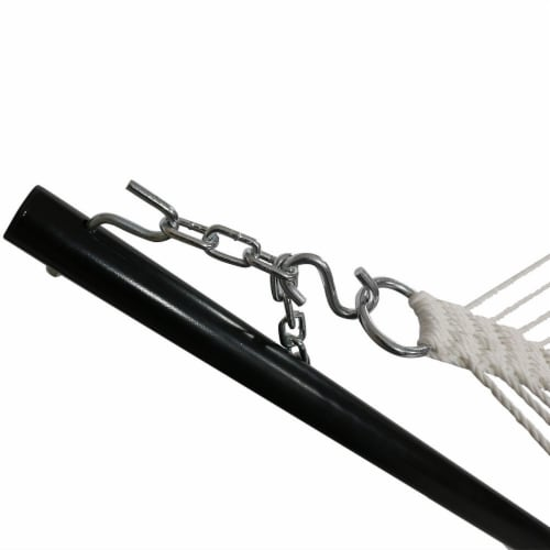 Sunnydaze 2-Person Quilted Fabric Spreader Bar Hammock with 12' Stand - Red Perspective: back