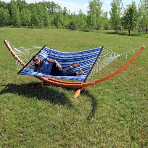Sunnydaze Quilted 2-Person Double Hammock with 13' Wood Stand - Catalina Beach Perspective: back