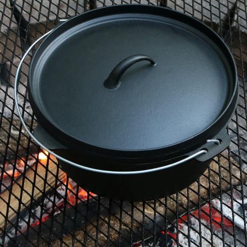 """Sunnydaze Large Cast Iron Deep Dutch Oven Pre Seasoned - Large 12"""" 8-Quart Pot Perspective: back"""