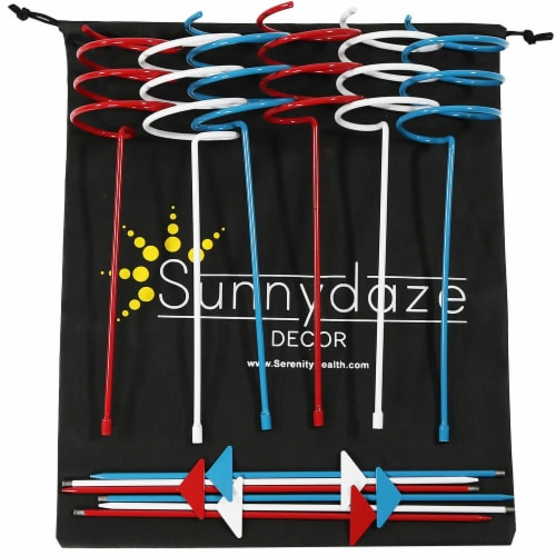 Sunnydaze Heavy-Duty Red White and Blue Outdoor Bottle Can Drink Holder - 6 PK Perspective: back