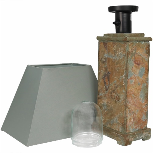 """Sunnydaze Indoor-Outdoor Decorative Natural Slate Table Lamp -Electric - 24"""" Perspective: back"""