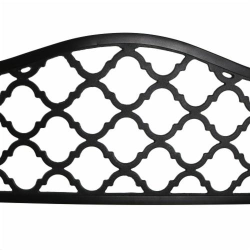 "Sunnydaze 2-Person Black Cast Iron Metal Lattice Outdoor Patio Garden Bench -50"" Perspective: back"