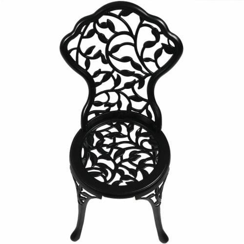 Sunnydaze 3-Piece Outdoor Cast Aluminum Patio Garden Furniture Bistro Set -Black Perspective: back