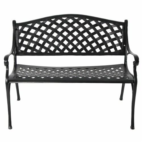 Sunnydaze 2-Person Black Checkered Cast Aluminum Outdoor Patio Garden Bench Perspective: back