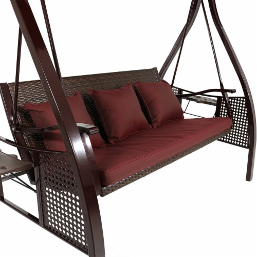 Sunnydaze Deluxe Steel Frame Maroon Cushioned Swing with Canopy and Side Tables Perspective: back