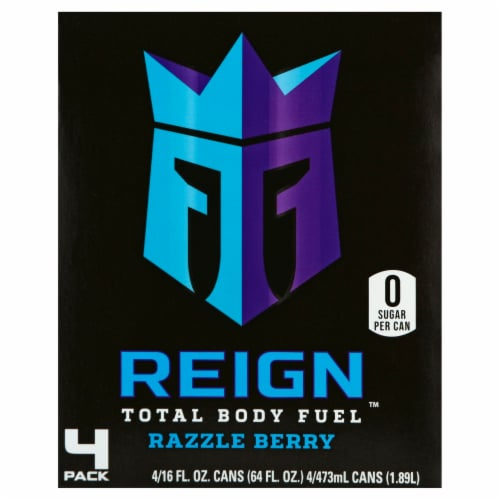 Reign Razzle Berry Energy Drinks Perspective: back