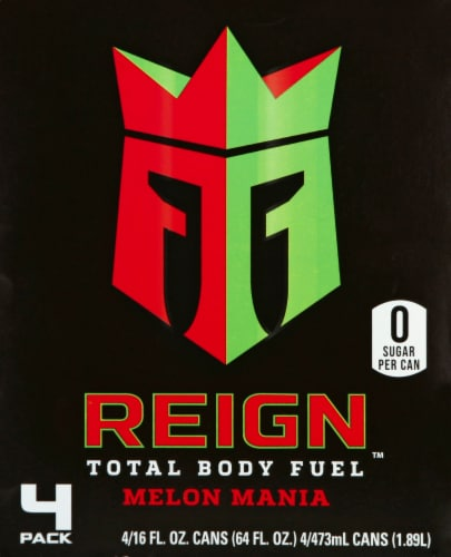 Reign Melon Mania Energy Drinks Perspective: back