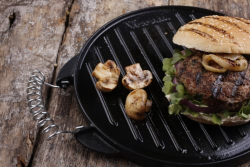 Victoria Wire Handles Cast Iron Round Reversible Griddle Perspective: back