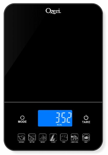 Ozeri Touch III 22 lbs (10 kg) Digital Kitchen Scale with Calorie Counter, in Tempered Glass Perspective: back