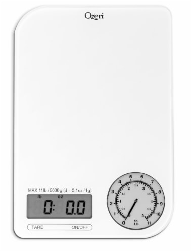 Ozeri Rev Digital Kitchen Scale with Electro-Mechanical Weight Dial Perspective: back