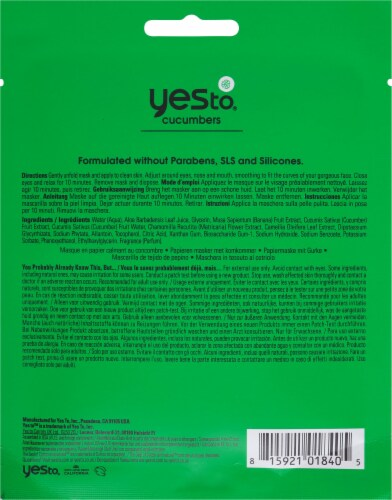Yes To Cucumbers Soothing Calming Paper Mask Perspective: back
