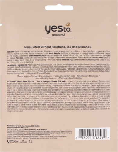 Yes To Coconut Ultra Hydrating Paper Mask Perspective: back