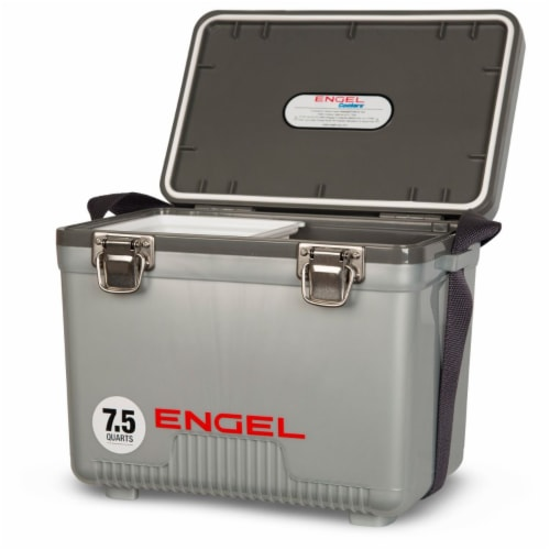 Engel 7.5-Quart EVA Gasket Seal Ice and DryBox Cooler with Carry Handles, Silver Perspective: back