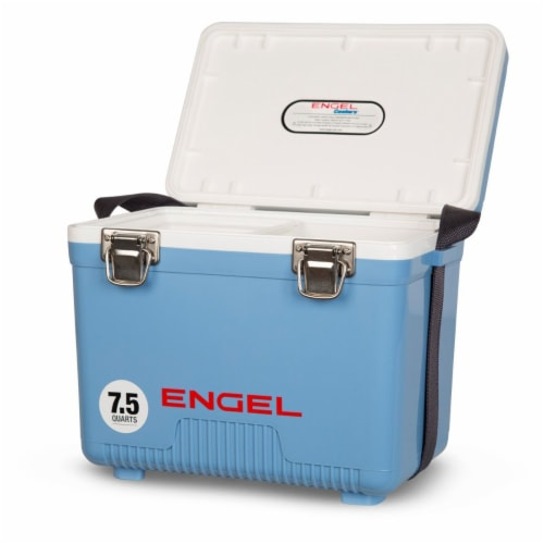 Engel 7.5-Quart EVA Gasket Seal Ice and DryBox Cooler with Carry Handles, Blue Perspective: back