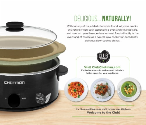 Chefman Natural Slow Cooker - Black Perspective: back