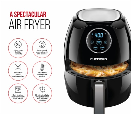 Chefman Digital Air Fryer with Flat Basket - Black Perspective: back
