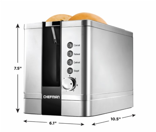Chefman Stainless Steel 2-Slice Pop-Up Toaster Perspective: back