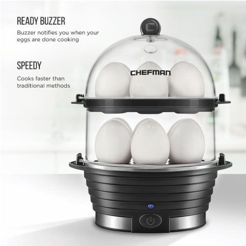 Chefman Electric Double Decker Egg Cooker Boiler - Black Perspective: back