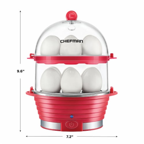 Chefman Electric Double Decker Egg Cooker - Red Perspective: back