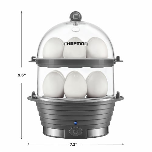 Chefman Electric Double Decker Egg Cooker Boiler - Gray Perspective: back