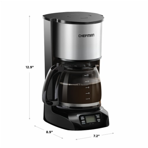Chefman Stainless Steel Programmable Electric Coffee Maker - Silver Perspective: back