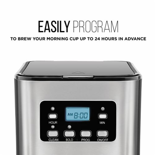 Chefman Square Stainless Steel Programmable Electric Coffee Maker - Silver Perspective: back